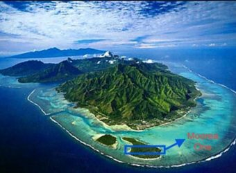 White sand beach , land of 36800m2 Located in a Private Island in Moorea /TAHITI