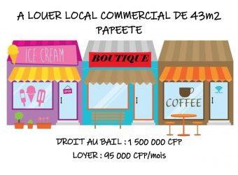 A louer local commercial de 43m² en RDC – Papeete